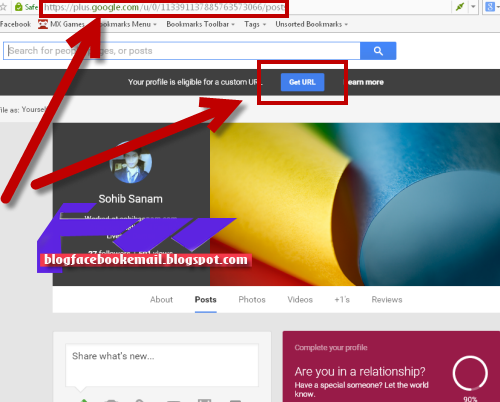 mengganti URL google plus