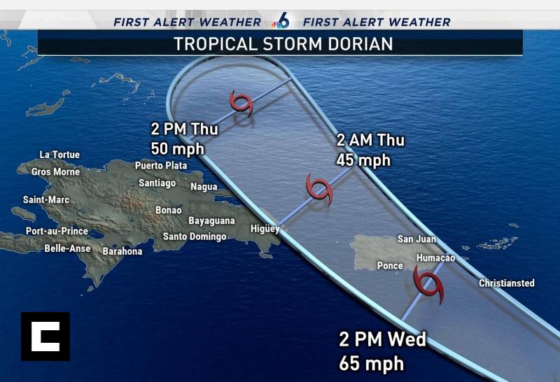 Dorian se alejará de RD, pero diez provincias están en alerta