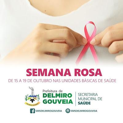 """Secretaria Municipal de Saúde de Delmiro Gouveia realiza a """"Semana Rosa"""" de 15 a 19 de outubro"""