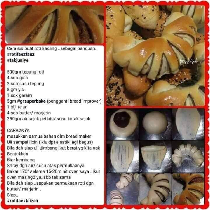 resepi roti kacang