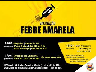Departamento de Saúde de Eldorado atualiza informações sobre casos de Febre Amarela