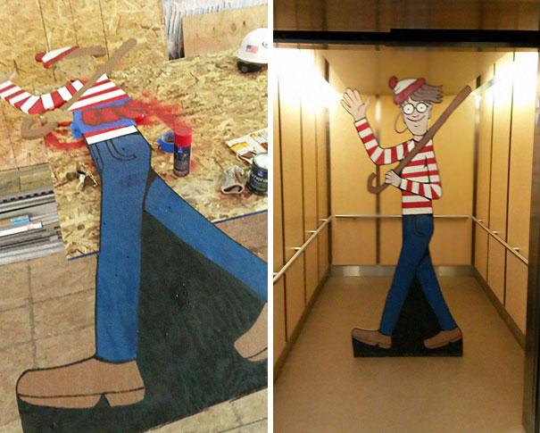 Trabajador esconde a Wally frente a un hospital para niños