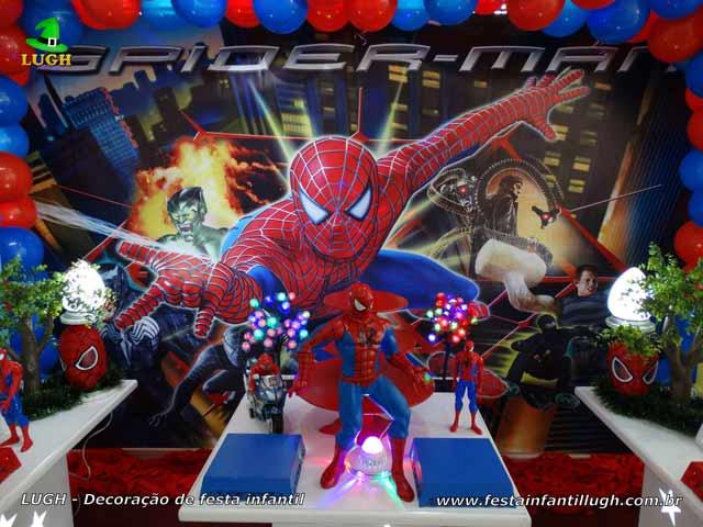 Mesa temática provençal do Homem Aranha - Festa de aniversário infantil