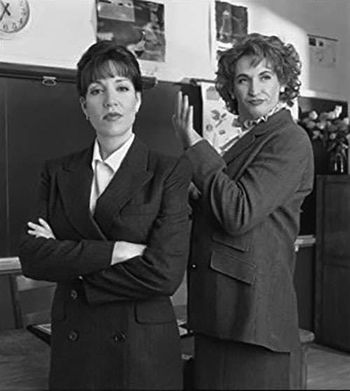 """Harland Williams (right) femulating in """"Mr. Headmistress,"""" a 1998 episode of television's The Wonderful World of Disney."""