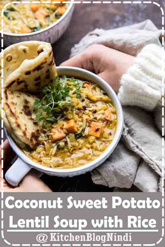 4.9★★★★★   When you're in need of warming comfort food, but you also want healthy, this Coconut Sweet Potato Lentil Soup with Rice is just the soup to make. All made in just ONE pot (or in your instant pot), in less than an hour. It's cozy, a little spicy, and filled with vegetables. The perfect healthy bowl of soup! #Coconut #SweetPotato #LentilSoup #Rice