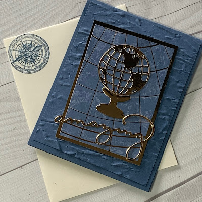 Blue and Gold Foil handmade greeting card using Stampin' Up! World Map Dies