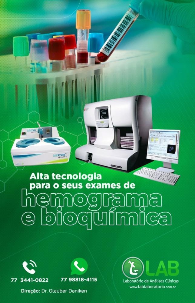 LAB Laboratório, alta tecnologia para realização dos seus exames