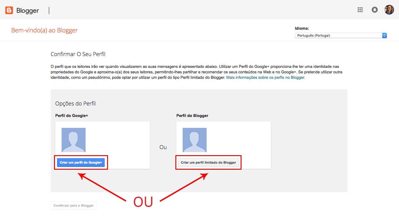 Criar perfil no blogger e Google+