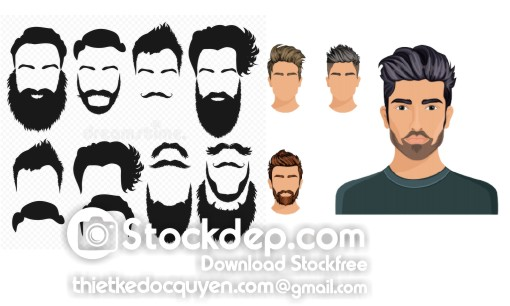 Men hair style symbol hipster beard free