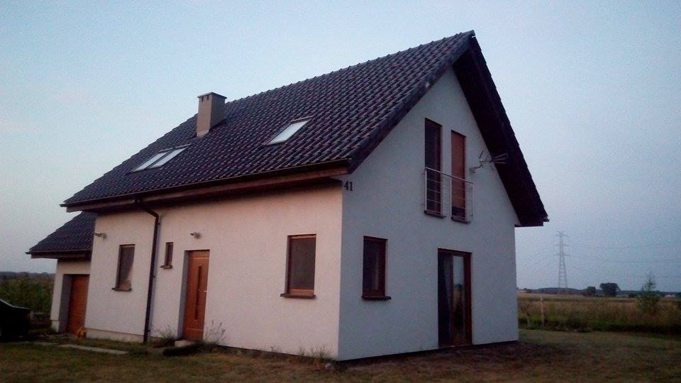dom, dom szkieletowy, na wsi, grafitowa dachówka, bogel