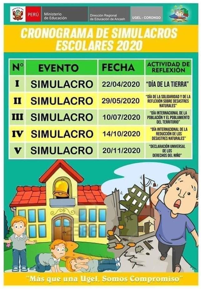 cronograma de simulacros nacionales de sismo 2020