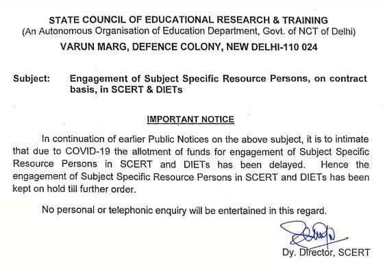 image : Delhi SCERT Subject Specific Resource Persons Recruitment 2020 Latest Updates @ TeachMatters