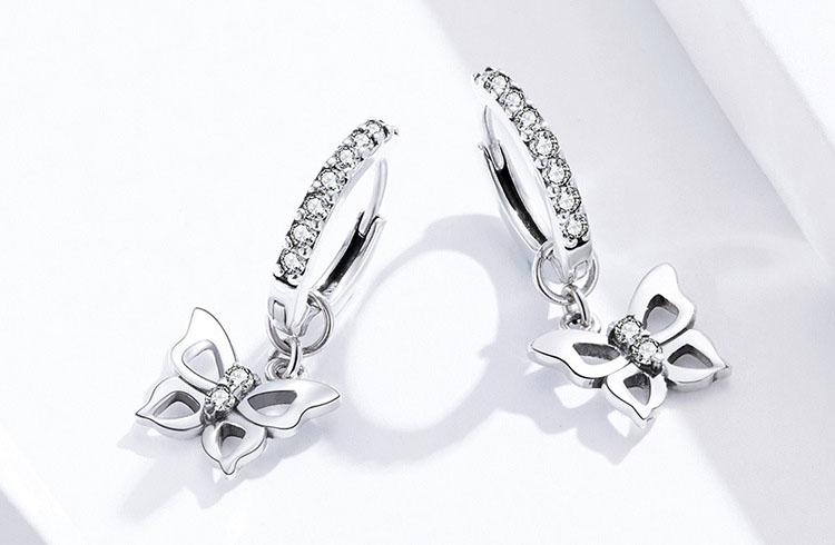 翩翩蝴蝶 925純銀鋯石耳環