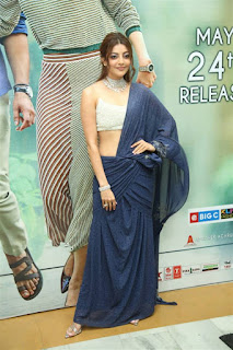 Kajal Agarwal In Blue Lehenga Choli At Sita Movie Pre Release (7)
