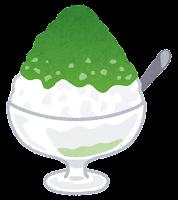 かき氷のイラスト(抹茶)
