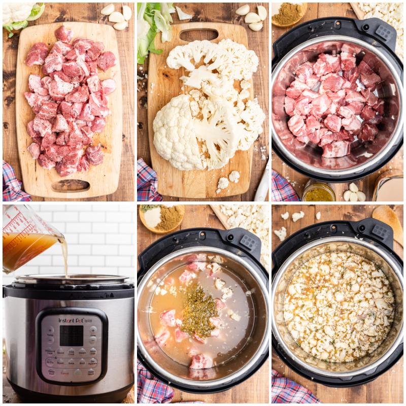 Six photos of the process of making Keto Pork Pozole Verde.