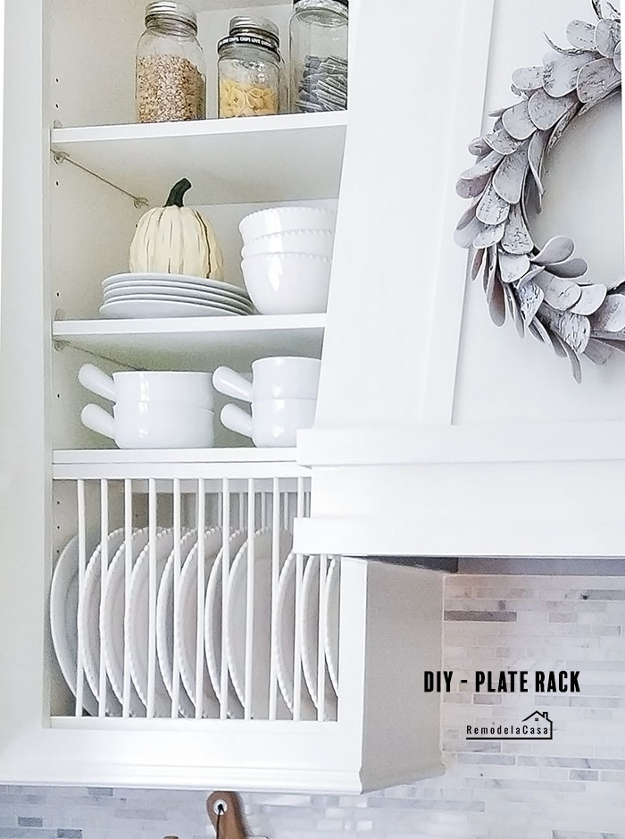 how build and install a cabinet plate rack