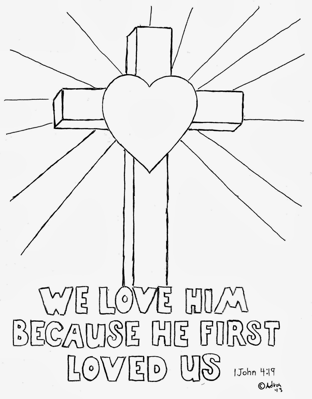 Coloring Pages For Kids By Mr Adron Cross Coloring Picture We Love Him Because He First Loved