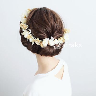 木の実とツイッグの花冠_ウェディングブーケと花髪飾りairaka