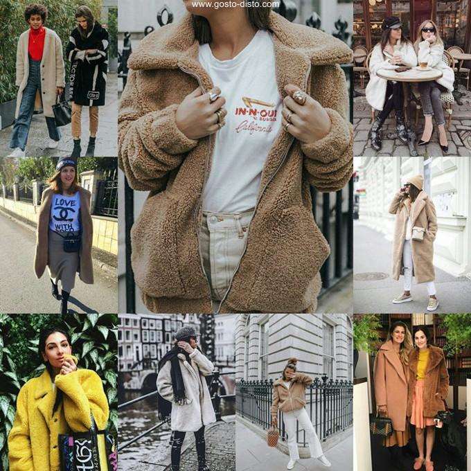 Teddy coat casaco tendência que parece um ursinho de pelúcia