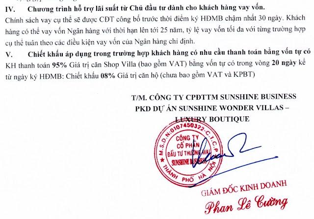 Chính sách bán hàng dự án Sunshine Helios shop villas Ciputra Hà Nội