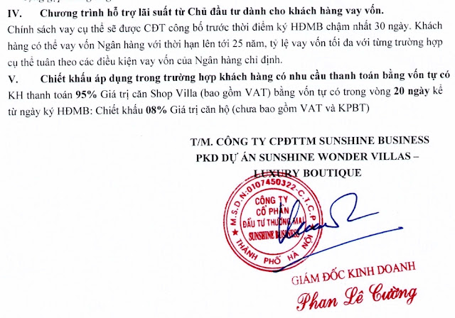 Chính sách bán hàng dự án Sunshine Residence Helios shop villas Ciputra Hà Nội