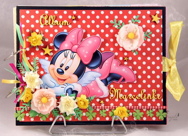 prezent na roczek, album ręcznierobiony, dla diewczynki na urodziny, Myszka Miki, Walt Disney, w kropki