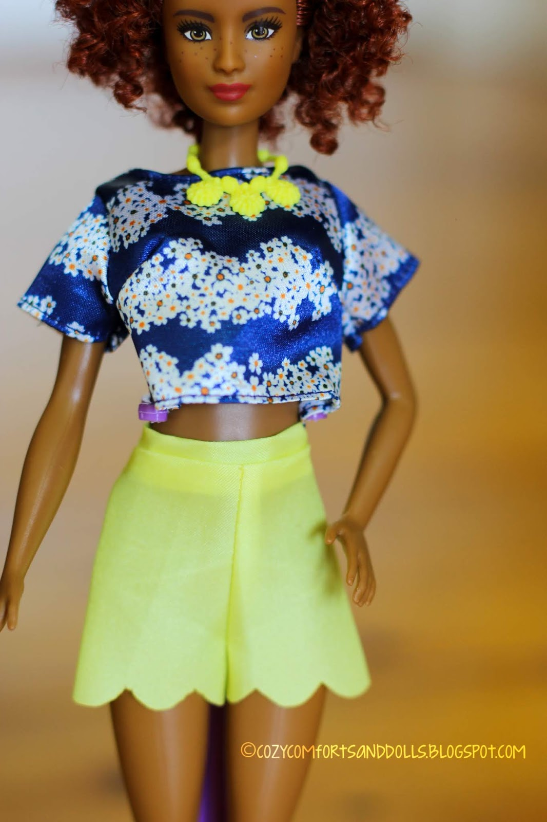 NEW  FASHIONISTA #100  BLUE SATIN FLORAL  top for Barbie doll
