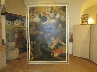 Incoronazione della Vergine  e Santi all'interno del Laboratorio di Restauro dei dipinti
