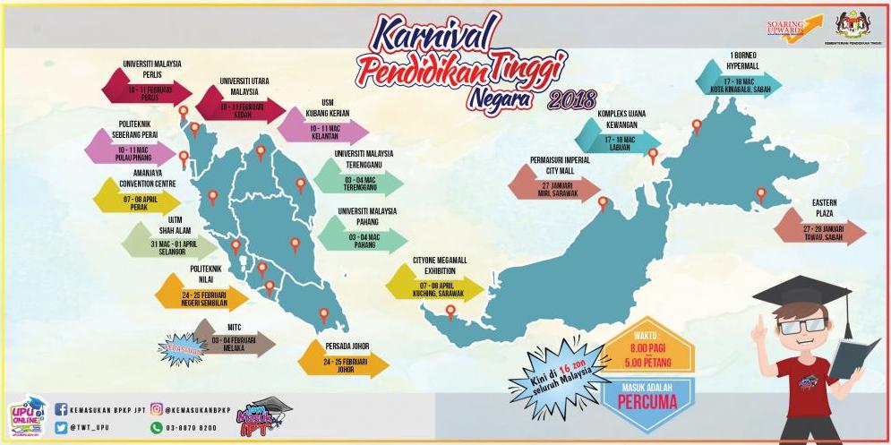 Jadual Karnival Jom Masuk U 2018