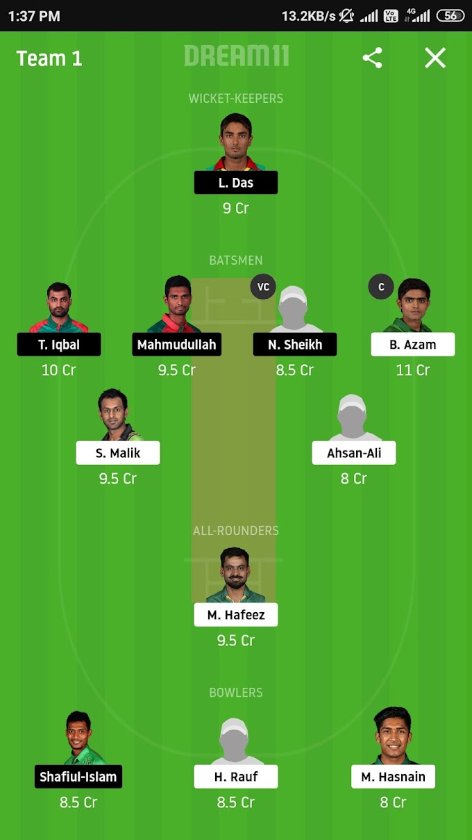 Bangladesh VS Pakistan 3rd T20 Dream 11 Prediction | Dream 11 Team For Small League