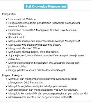Staff Knowledge Management di PT Brantas Abipraya
