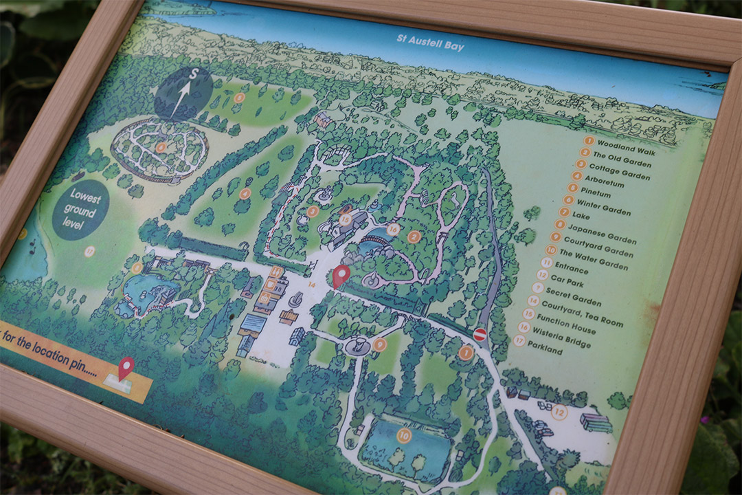 Pinetum Gardens in Cornwall illustrated map