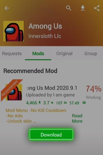 among us mod menu happymod