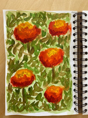 Watercolour marigold pattern