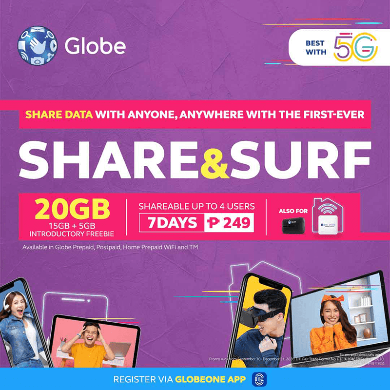Globe outs Share and Surf 249, the first shareable data promo in the Philippines