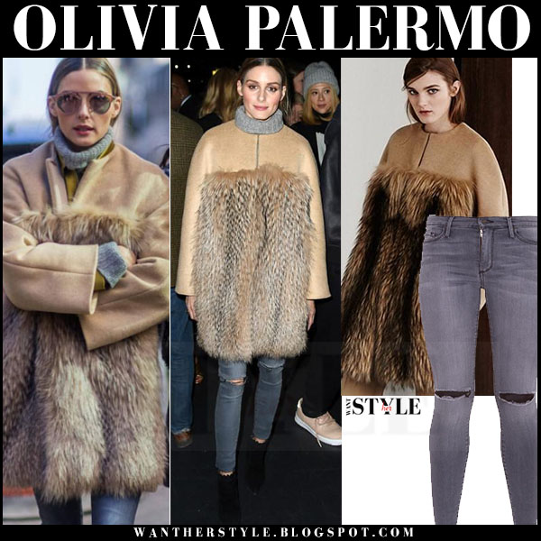 Olivia Palermo in camel fur max mara coat and grey skinny jeans black orchid gisele what she wore front row style