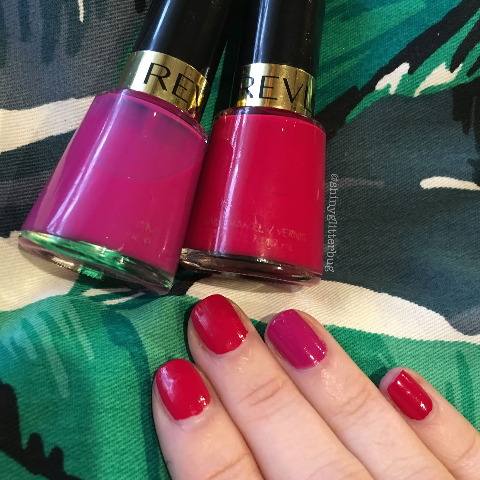 Today I've used two Revlon nail polishes; Cherries In The Snow (the cherry red one) and Plum Seduction (the bright fuchsia one). This mani is Fruity because ...