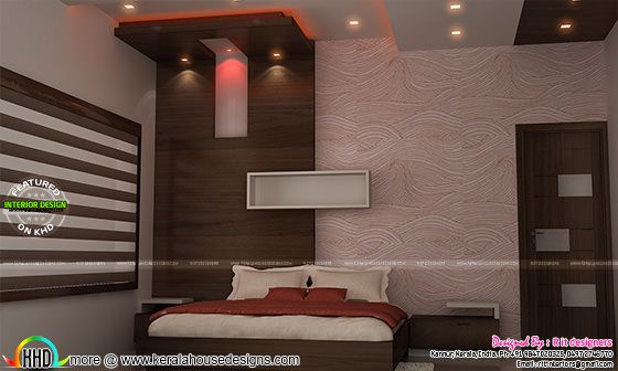 Bedroom design with wallpaper