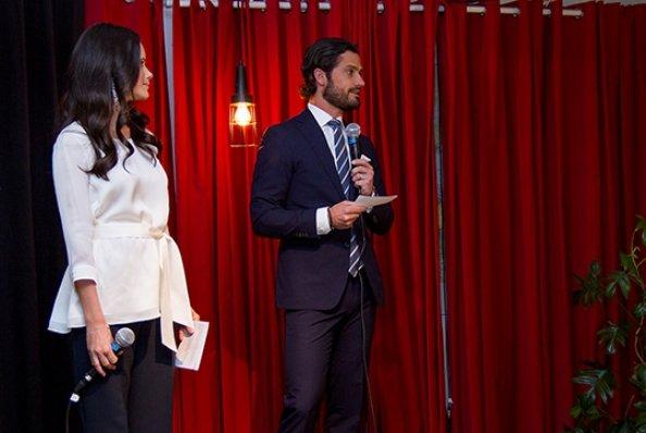 Sofia Hellqvist Style. Princess Sofia wore AHLVAR Hisako Blouse. Prince Carl Philip and Sofia attended the launch