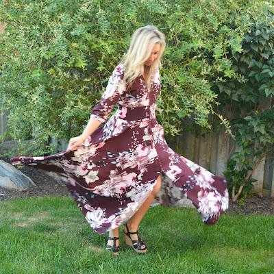 burgundy floral fall maxi dress