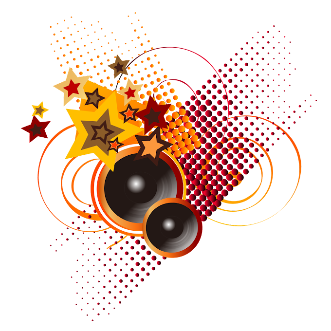 Microphone Music, Trendy cool music background, speakers, stars, and red dots illustration, album, trendy Frame png by: pngkh.com