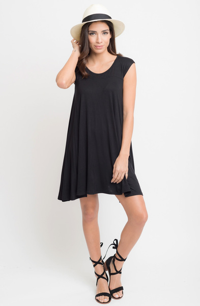 Buy Now Black Jersey Scoop Neck Cap Sleeve Dress Tunic Online -Final Sale- $20 -@caralase.com