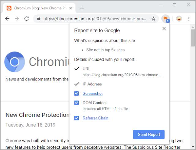 ملحق مراسل الموقع المشبوه من Chrome