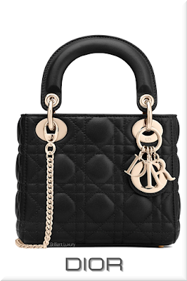 ♦Dior Lady Dior classic and iconic black lambskin mini top handle bag with Dior charms in gold #dior #bags #ladydior #brilliantluxury