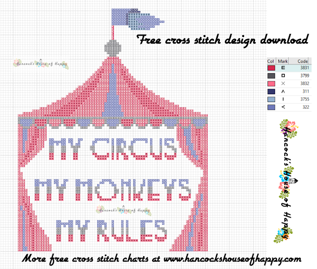 Boss Week! My Circus, My Monkeys, My Rules Cross Stitch Pattern Free to Download