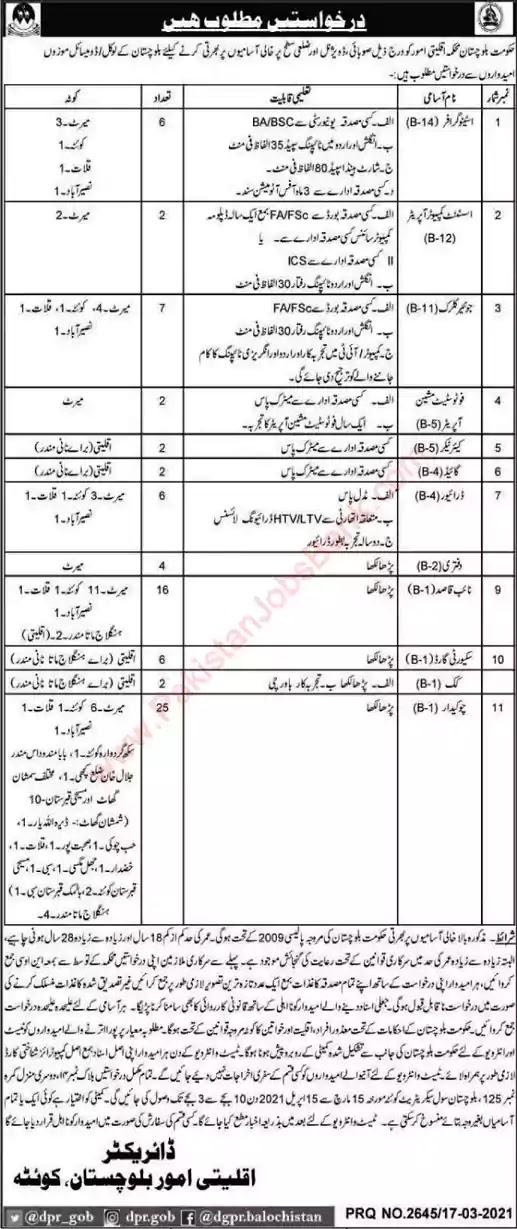 Latest Jobs in Pakistan Minorities Affairs Department Balochistan Jobs 2021
