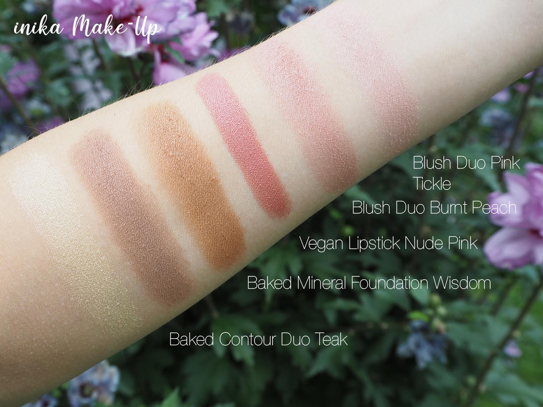 inika Make-Up Swatches Burnt Peach, Pink Tickle, Nude Pink, Teak, Wisdom