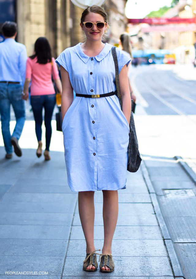 How to style vintage denim dress, street style looks May, Zagreb, Croatia, Daria Čičmir, grafička dizajnerica, vintage jeans dress