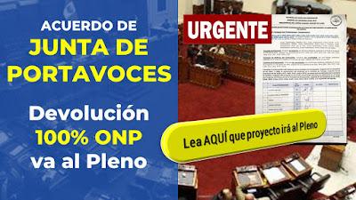 Devolución  100% ONP  ACUERDO DE JUNTA DE PORTAVOCES